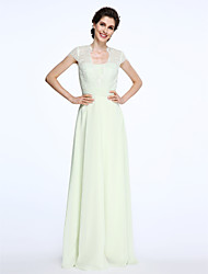 A-Line Queen Anne Floor Length Chiffon Lace Mother of the Bride Dress with Lace Sash / Ribbon Ruching by LAN TING BRIDE®