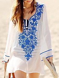 Women's Cover-Up,Solid Polyester White