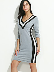 Women's Casual/Daily Sexy / Vintage Bodycon Dress,Color Block Round Neck Above Knee Long Sleeve Black / Gray Cotton / PolyesterSpring /