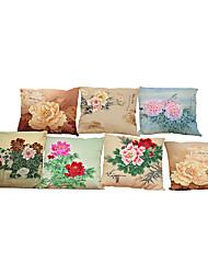 Set of 7 Peony pattern   Linen Pillowcase Sofa Home Decor Cushion Cover