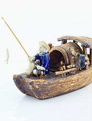 Aquarium Decoration Ornament Boat Ceramic Brown