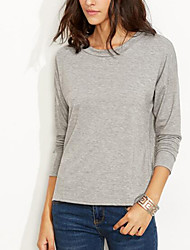 Women's Going out Casual/Daily Simple Street chic Spring Fall T-shirtPatchwork Lace Mesh Round Neck Long Sleeve