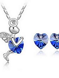 Schmuck 1 Halskette 1 Paar Ohrringe Kristall Party Aleación 1 Set Damen Gelb Blau Grün Lila Rosa Himmelblau Hochzeitsgeschenke