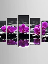 Холст Set Пейзаж Цветочные мотивы/ботанический Европейский стиль Классика,5 панелей Холст Любая форма Печать Искусство Декор стены For