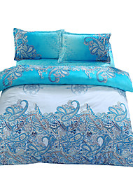 Mingjie 3D Reactive Blue flower Bedding Sets 4 Pcs for Queen Size Contain 1 Duvet Cover 1 Bedsheet 2 Pillowcases from China