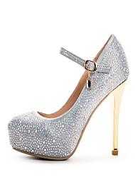 Women's Heels Spring Summer Fall Winter Club Shoes Satin Wedding Party & Evening Stiletto Heel Rhinestone Satin Flower Silver Other