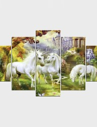 Stretched Canvas Print Animal Fantasy Classic,Five Panels Canvas Any Shape Print Wall Decor For Home Decoration
