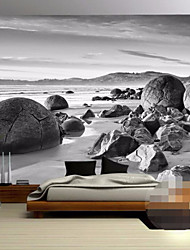 Art Deco Wallpaper For Home Wall Covering Canvas Adhesive required Mural Black Background Beach Stones XXXL(448*280cm)XXL(416*254cm)XL(312*219cm)