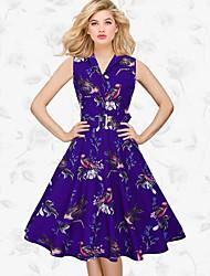 Women's Formal Vintage Skater Dress,Print Shirt Collar Midi Sleeveless Polyester Blue White Yellow Spring Summer Mid Rise Micro-elastic