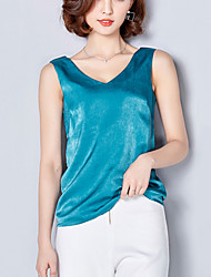 Women's Going out Casual/Daily Street chic Summer Tank Top Solid Patchwork V Neck Sleeveless Blue /Pink /Red /White /Black Silk Thin