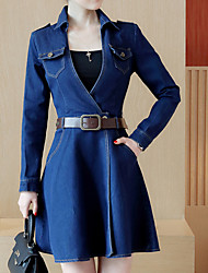 Women's Going out Casual/Daily Holiday Sexy Street chic Sophisticated Sheath Dress,Solid V Neck Above Knee Long Sleeve Others BlueAll