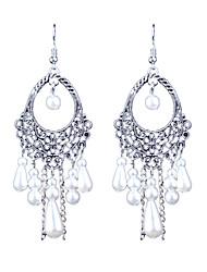 Retro Folk Style Long Hollow Pearl Earrings