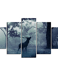 Animal Modern,Five Panels Canvas Any Shape Print Wall Decor For Home Decoration