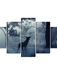 Art Print Animal Modern,Five Panels Canvas Any Shape Print Wall Decor For Home Decoration