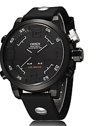 OHSEN AD2820R Big Dial Double Show LED Silicone Belt Movement Watches