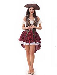 Costumes de Cosplay / Costume de Soirée Pirate Fête / Célébration Déguisement Halloween Rouge Mosaïque Robe / Chapeau Halloween Féminin