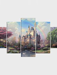 Stretched Canvas Print Landscape European Style,Five Panels Canvas Any Shape Print Wall Decor For Home Decoration