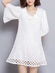 Women's Plus Size Slim A Line DressSolid Patchwork Lace Cut Out Round Neck Mini  Length Sleeve Flare Sleeve Polyester