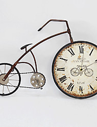 E-HOME® Nostalgic Brown Bicycle Metal Wall Clock One Pcs