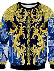 Cosplay Lolita Dress Golden Blue Print Long Sleeve T-Back For Men Terylene Polyester