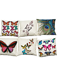 Set of 6 Novelty butterfly pattern  Linen Pillowcase Sofa Home Decor Cushion Cover