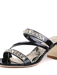 Women's Sandals Spring Summer Slingback Club Shoes Leatherette Outdoor Office & Career Casual Low Heel Chunky Heel Rhinestone Crystal