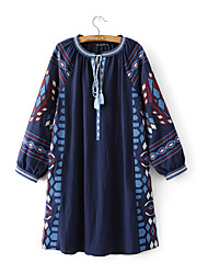 Women's Going out Holiday Vintage Boho Chinoiserie A Line Loose Dress,Patchwork Embroidered Cut Out Bow Ruched Round Neck Above KneeLong