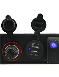 DC 12V/24V 3.1A USB port Sockets and cigarette lighter sockets with rocker switch jumper wires and housing holder