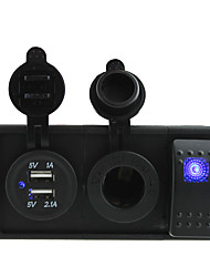 DC 12V/24V 3.1A USB port Sockets and power charger with rocker switch jumper wires and housing holder