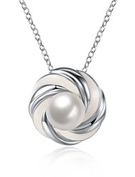 Women's Pendant Necklaces Imitation Pearl Circle Imitation Pearl Silver Plated AlloyCircular Unique Design Dangling Style Rhinestone