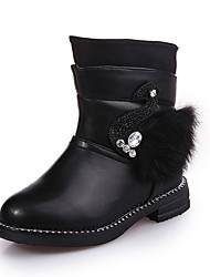 Girl's Boots Spring Fall Winter Comfort PU Casual Low Heel Magic Tape Black Red Other