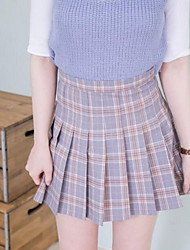 Women's A Line Check Skirts,Casual/Daily Simple High Rise Mini Zipper Cotton Inelastic Spring