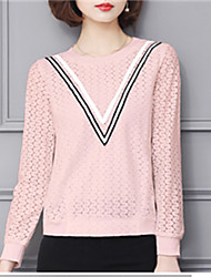 Fashion Spring Lace Long Sleeves Round Neck Upper Outer Garment Daily Leisure Solid Color Wild Home Play Chiffon Blouse