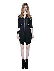 PUNK RAVE PQ-106Women's Going out Casual/Daily Sexy Sheath DressSolid V Neck Above Knee  Length Sleeve Cotton Spandex Black Spring Fall Low Rise