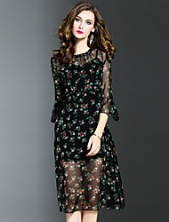 Women's Plus Size Going out Street chic A Line Dress,Floral Round Neck Midi ¾ Sleeve Polyester Black Spring Fall Mid Rise Inelastic