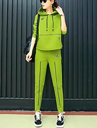 Activewear Set Femme Grandes Tailles Décontracté / Quotidien Sportif Actif Mignon Couleur Pleine Mosaïque Col en V Non ElastiqueCoton