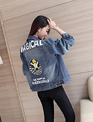 Sign 2017 spring new Korean lapel single breasted denim jacket female wild printing back