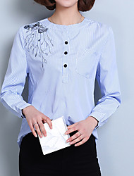 Women's Going out Casual/Daily Work Cute Street chic Sophisticated All Seasons Shirt,Striped Stand Long Sleeve Blue Red Others Thin