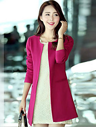 Women's Coat,Solid Long Sleeve Spring / Summer / Fall Blue / Red / Beige / Black Cotton / Polyester / Spandex / Others Medium