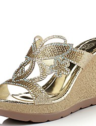 Women's Slippers & Flip-Flops Summer Comfort Glitter Party & Evening Dress Casual Wedge Heel Rhinestone Gold Walking