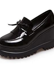 Черный Бордовый-Женский-Для офиса Повседневный-Полиуретан-На танкетке На платформе-Удобная обувь-Туфли на шнуровке