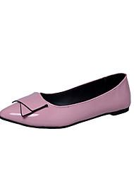 Women's Flats Comfort PU Spring Casual Walking Comfort Applique Flat Heel Black Ruby Green Blushing Pink 1in-1 3/4in