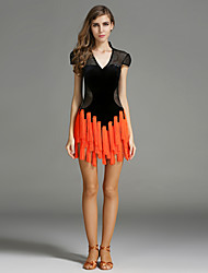 Latin Dance Dresses Women's Performance Velvet Tassel(s) Splicing 1 Piece Short Sleeve Natural Dress