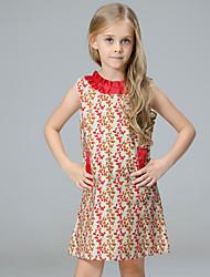 Vestido Chica de Estampado Retazos Algodón Sin Mangas Verano Primavera Otoño