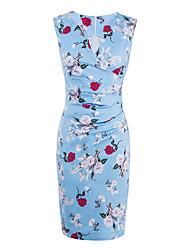 Женский На выход На каждый день Праздник Секси Шинуазери (китайский стиль) Облегающий силуэт Оболочка Платье Цветочный принт,V-образный