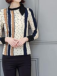 Feminino Blusa Para Noite Formal Trabalho Fofo Moda de Rua Sofisticado Todas as Estações,Listrado Amarelo Poliéster Decote RedondoManga
