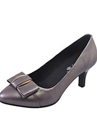 Women's Heels Spring Summer Fall Comfort Light Soles Cowhide Leather Casual Low Heel Bowknot Black Gray
