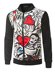 Sweatshirt Homme Décontracté / Quotidien Sportif Sortie Actif simple Chic de Rue Couleur Pleine Mao Micro-élastique PolyesterManches