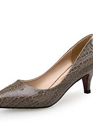 Women's Heels Comfort Leather Office & Career Party & Evening Dress Low Heel Animal Print Brown Beige