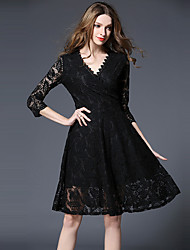 Women's Lace Going out Sophisticated Lace Dress,Jacquard Lace Round Neck Above Knee Long Sleeve Polyester Black Spring Mid Rise Inelastic